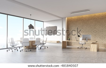 CEO office in marketing company in large city. Wooden decorative panel, boss's desk with workstation, meeting area and tv on wall. Concept of manager's work. 3d rendering, mock up