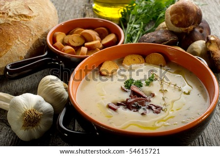 cep soup with toasted slice bread on bowl - stock photo
