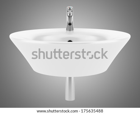 ceramic bathroom sink isolated on gray background