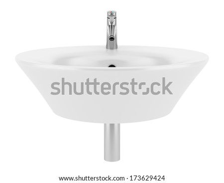 ceramic bathroom sink isolated on white background