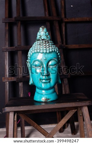 ceramic Buddha head old antique blue interior detail beauty turquoise