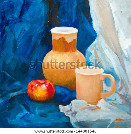 ceramic clay jug and ceramic Cup in a rustic style and a large red Apple on a blue background still life painted with oil paints on canvas
