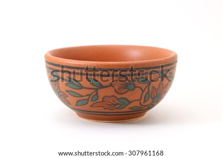 ceramic clay pot or bowl isolated on white - stock photo