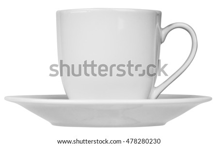 Ceramic coffee cup and saucer isolated on the white