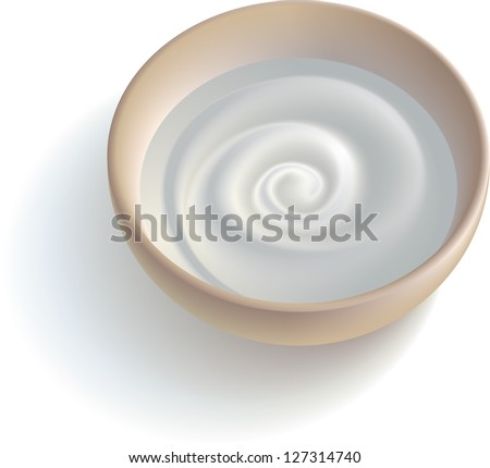 Ceramic cup with some white creamy substance. Raster image. Find editable version in my portfolio. - stock photo