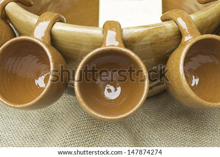 Ceramic cups to drink in bar, celebration - stock photo
