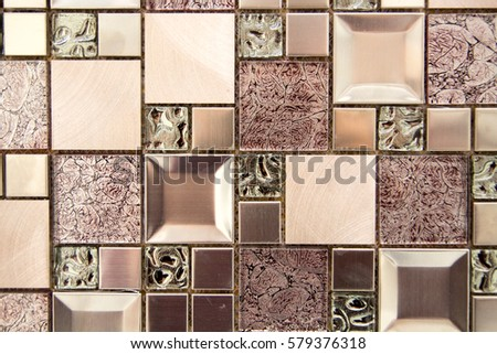 Ceramic Decorative Tiles Of Different Textures Covering Walls And Floor In  Kitchen, Bathroom Or Toilet
