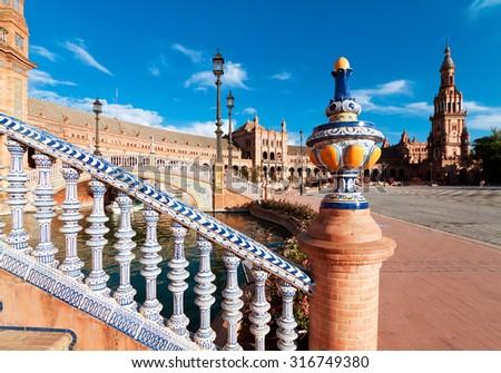 Ceramic fence in Plaza de Espana in Seville, Spain. - stock photo