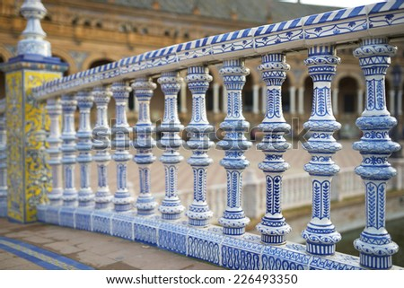 Ceramic fence in Spain's Square, located in the Parque Maria Luisa, was the  venue for the Latin American Exhibition of 1929, Seville, Andalucia, Spain - stock photo