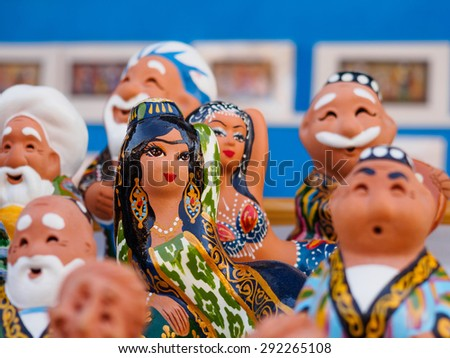Ceramic figurine in bazaar in Bukhara, Uzbekistan - stock photo
