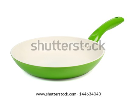 Ceramic Frying Pan. Isolated with clipping path. - stock photo