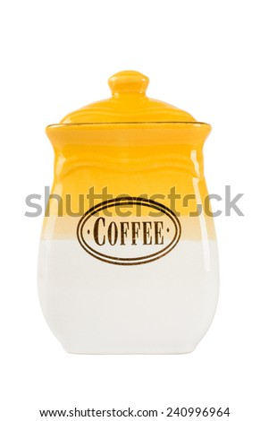 Ceramic jars of coffee, tea and sugar, isolated on white background - stock photo