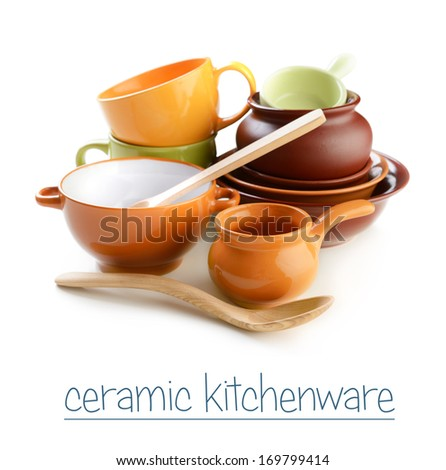 ceramic kitchenware on a white background - stock photo