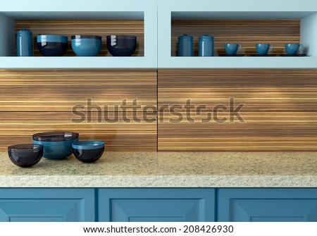 Ceramic kitchenware on the marble worktop. Plates, cups on the shelf. Blue kitchen design. - stock photo