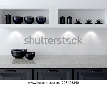 Ceramic kitchenware on the shelf. Marble worktop. White and black kitchen design.