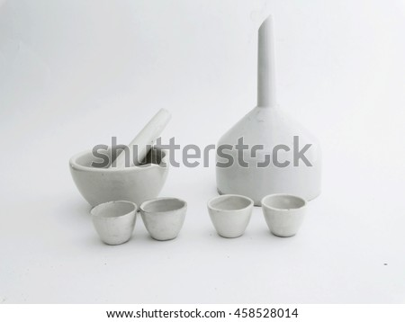 Ceramic laboratory ware covered with white glaze