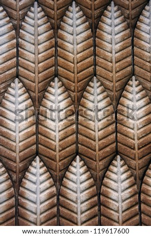 Ceramic Leaf Tiles - stock photo