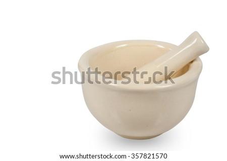 ceramic mortar isolated on white background. - stock photo