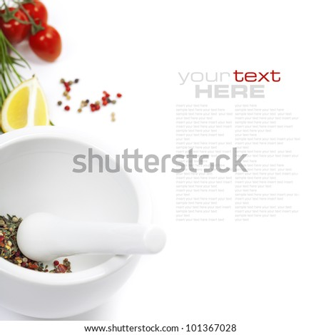 Ceramic Mortar with Pestle, fresh spices and vegetables (with easy removable sample text) - stock photo