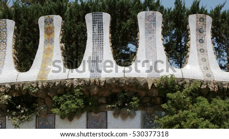 Ceramic mosaic elements in Park Guell, Barcelona, Spain, July 2016