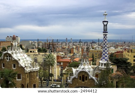 Ceramic mosaic in Park guell, Barcelona, Spain - stock photo