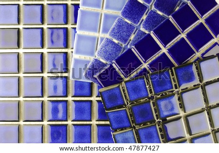 ceramic mosaic tiles in various blue color choice - stock photo