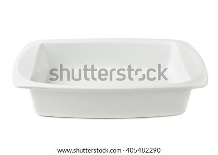 Ceramic pan isolated on white background - stock photo