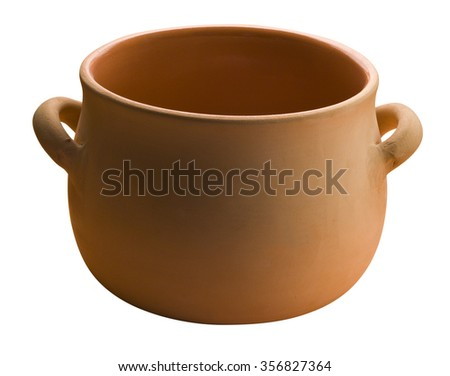 ceramic pan with two handles, isolated  - stock photo