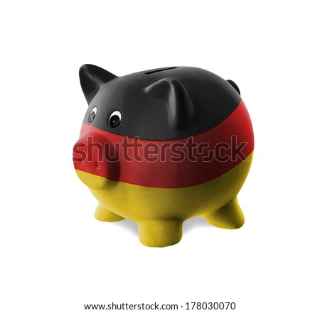 Ceramic piggy bank with painting of national flag, Germany - stock photo