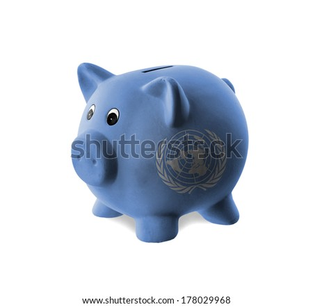 Ceramic piggy bank with painting of national flag, United Nations - stock photo