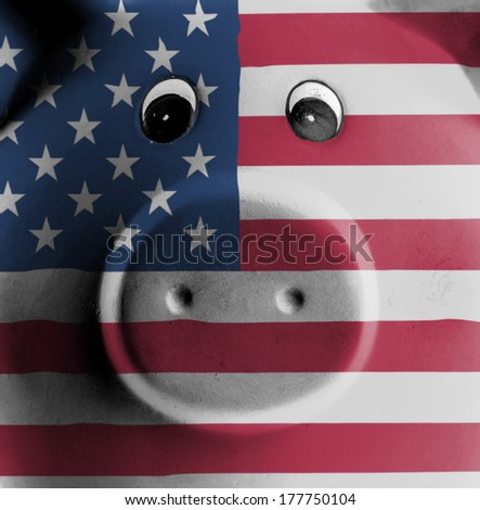 Ceramic piggy bank with painting of national flag, United States - stock photo