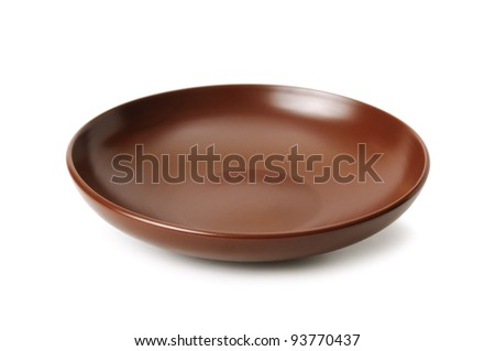 Ceramic plate isolated on a white background - stock photo