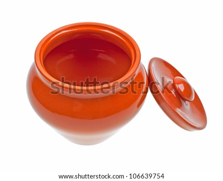 Ceramic pot for cooking isolated on white background - stock photo