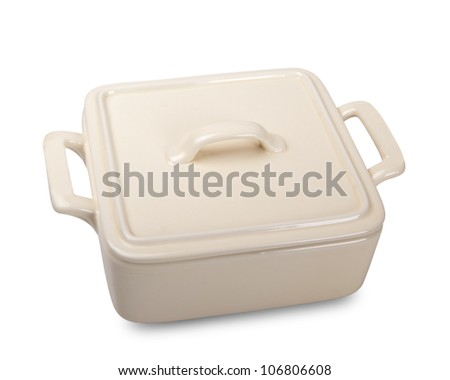Ceramic pot for stove. Isolated on white background - stock photo