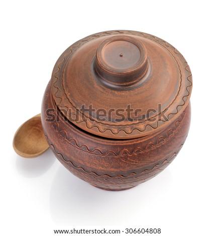 ceramic pot isolated on white background - stock photo