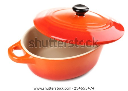 Ceramic pot. soup tureen isolated on white - stock photo