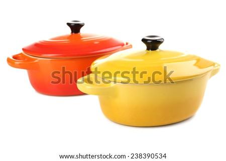 Ceramic pot. soup tureen isolated on white - stock photo