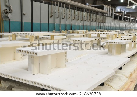 Ceramic products in the workshop  - stock photo