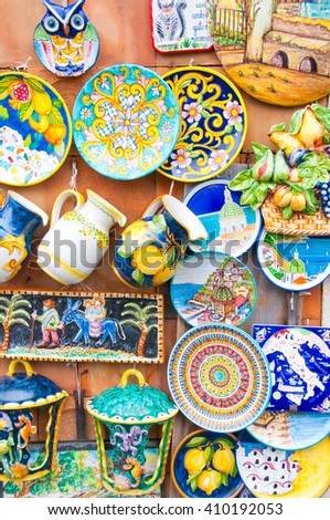 Ceramic shop in Vietri sul Mare on Amalfi coast, Italy, 27.03.16