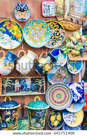 Traditional Italian Ceramics On Display Souvenir Stock
