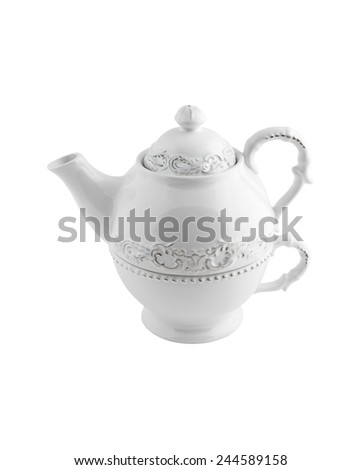 ceramic teapot with patterns isolated on white background