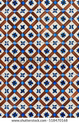 Ceramic tile in Lisbon street, Portugal.