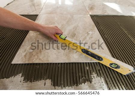 Ceramic Tiles Tools Tiler Floor Tiles Stock Photo Download Now
