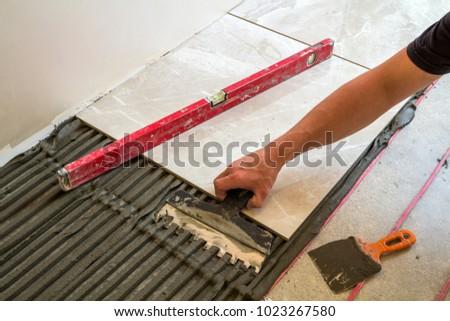 Ceramic Tiles Tools Tiler Worker Hand Stock Photo Royalty Free
