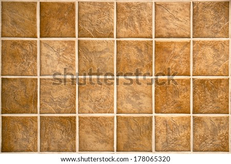 Ceramic tiles. Beige mosaic ceramic tiles for kitchen or bathroom wall or floor. - stock photo