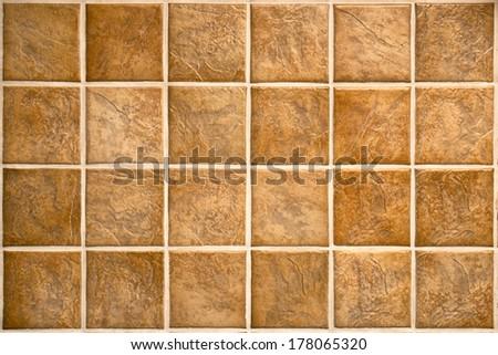 Ceramic tiles. Beige mosaic ceramic tiles for kitchen or bathroom wall or floor. - stock photo