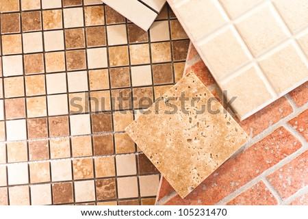 Ceramic tiles for different types of cuisine - stock photo