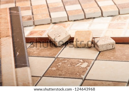 Ceramic tiles of different forms - stock photo