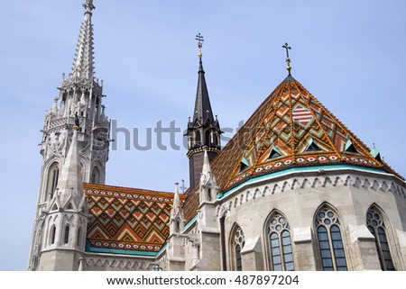 Ceramic tiles on roof of Matthias church , Buda Castle,  Budapest, Hungary