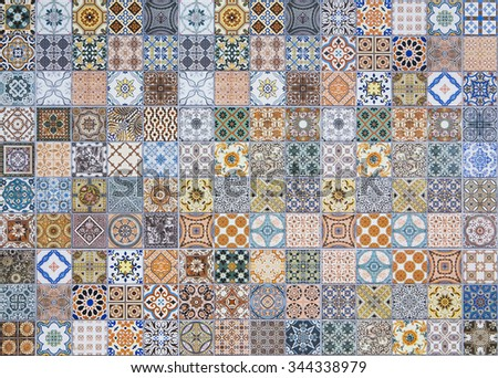 ceramic tiles patterns portugal stock photo royalty free 344338979